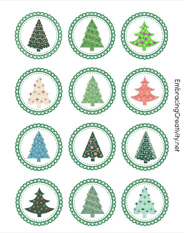 Free Printable Christmas Tree Cupcake Toppers - So cute!