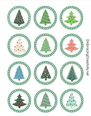 Free Printable Christmas Tree Cupcake Toppers - So cute!