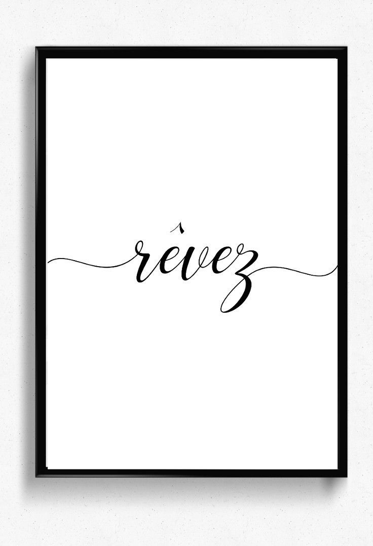 Affiche Imprimable Revez Poster Minimaliste Poster Phrase Idee