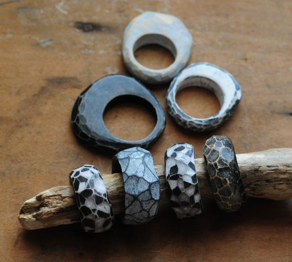 Carved Fragment Rings by jibby and juna, via Flickr