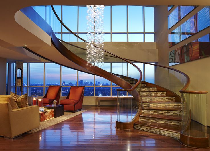 Penthouse Living Room and main Staircase  | Interior Design Photographer | Brantley Photography