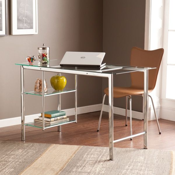 Harper Blvd Orsin Chrome/ Glass Desk | Overstock.com Shopping - The Best Deals on Desks