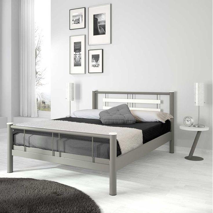 Jugendbett in Weiß Grau Metall 180x200