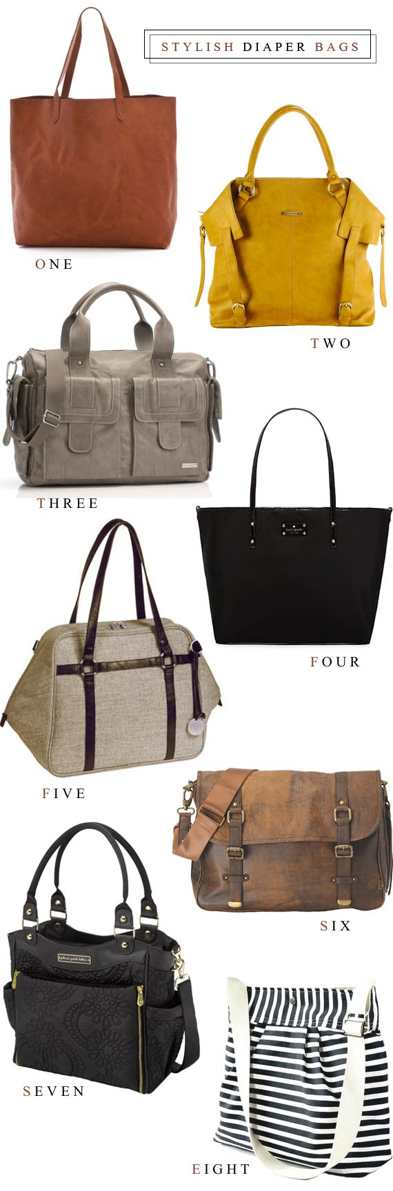 8 Stylish Diaper Bags (that work as handbags too) // Bubby and Bean