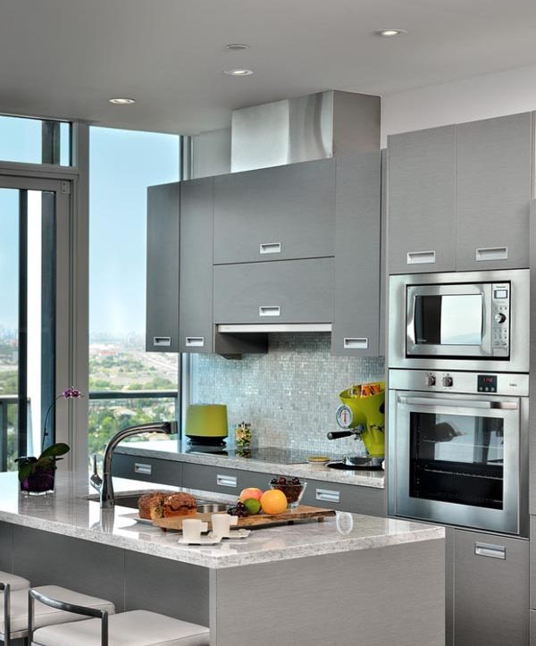 No matter if, you are having a small kitchen, you can make it look bigger with use of some creative ideas that can suit your requirements. Using compact and smaller appliances would be a good idea. If you have some space in the center, then try utilizing it by making it as a storage space.