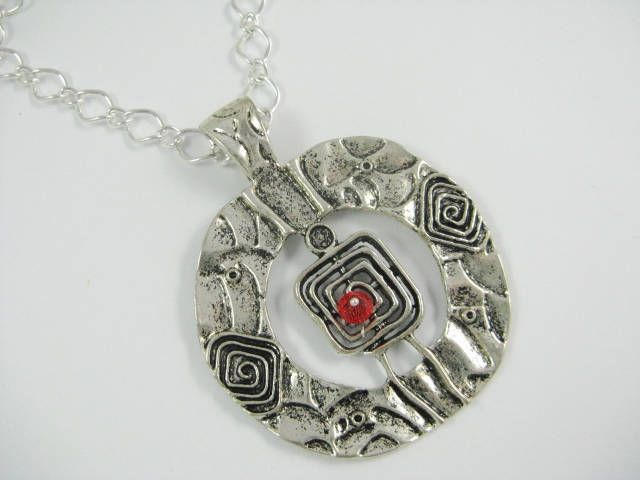 Silver Aztec Pendant Necklace, Ethnic Necklace, Statement Necklace by Wireandcolour on Etsy