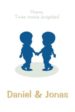 Geboortekaartje voor tweeling met silhouet, zelf kleuren aanpassen. Ook voor meisjes en jongen-meisje & broertjes-zusjes.