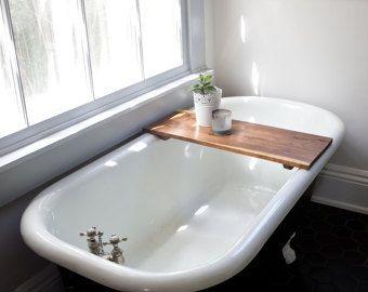 Rustic Wood Bathtub Tray Walnut Bath Tub Caddy door whiskyginger