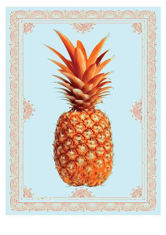 Pineapple Print light blue and orange available at  https://www.etsy.com/au/listing/198679060/pineapple-print-light-blue-and-orange