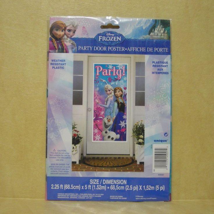 New Disney Frozen Movie Party Door Poster Decorations Elsa Anna Olaf Birthday #DisneyFrozen  #FrozenBirthday