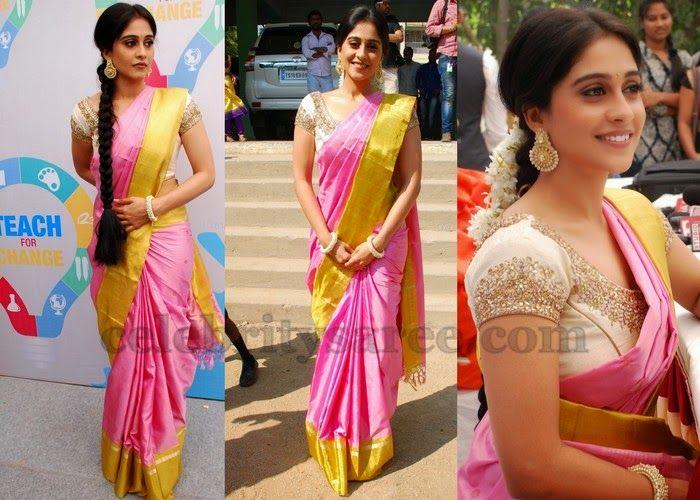 Light Pink Silk Saree and blouse design. Indian fashion.