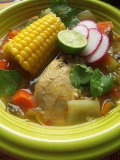 Hearty Mexican Soup - Hispanic Kitchen (Appears similar to a soup I absolutely loved to eat on rainy days! Corn tortillas are a must. Difference here: Garnishes. Veggie or chicken vs. beef.)