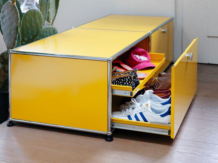 Coffre de rangement USM Haller avec portes coulissantes Coloris jaune Le meuble idéal pour