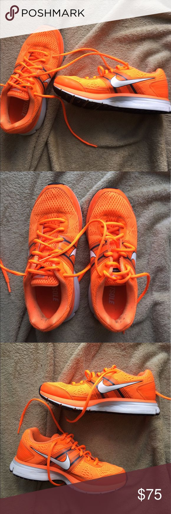 Orange Nike Pegasus shoes in 7.5! These have probably been worn less than three times, as they're too small for me. They were just so cute I had to get them, but they just don't fit sadly.   🌙If it is listed it is available ⭐️No trades 💫Authentic  ☀️No Modeling 🌒MAJOR BUNDLE DISCOUNTS Nike Shoes Athletic Shoes