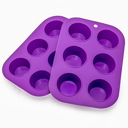Muffin Cupcake Quiche Pan 6-cup (Set of 2) 100% Food Grade Nonstick Silicone Bakeware by Happy Cook