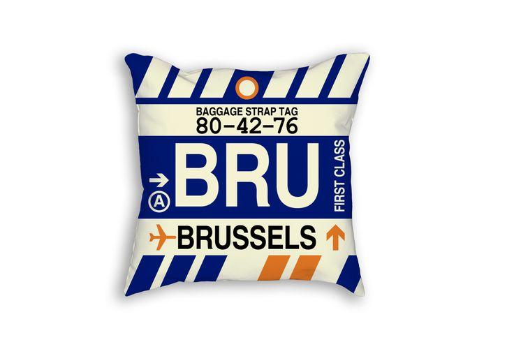 BRU Brussels Airport Code Baggage Tag Pillow