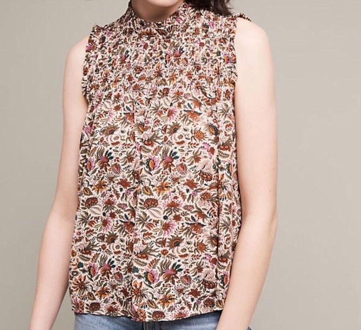 NWT $78 Anthropologie Darby Blouse Maeve Neutral Motif 4P 4 Petite Free Ship  | eBay