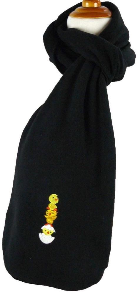Baby Chicks Family Monogram Scarf Warm Winter Black Fleece Gift Yellow Birds NWT #PortAuthority #Scarf