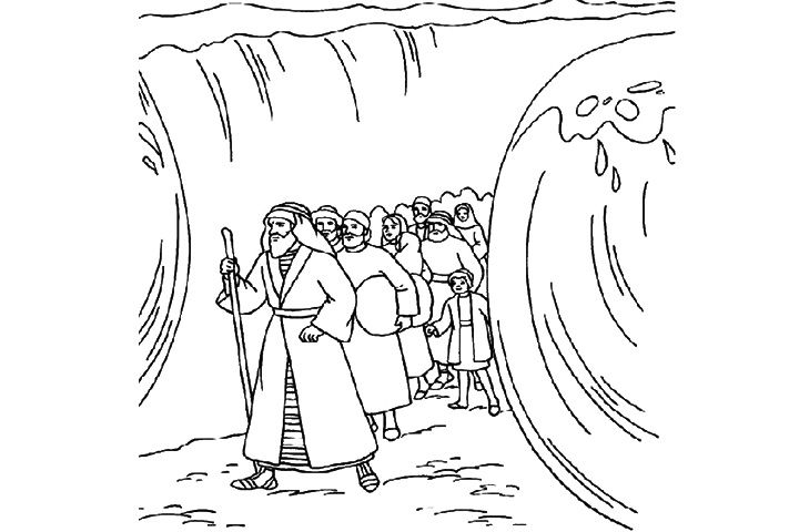 The coloring sheet shows Moses parting the Red sea, when