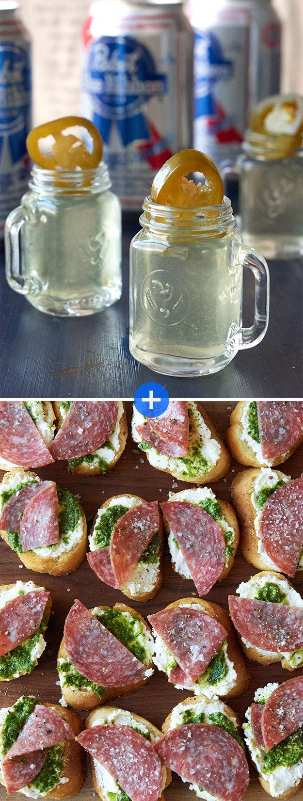 Salami Toasts + Jalapeño Picklebacks