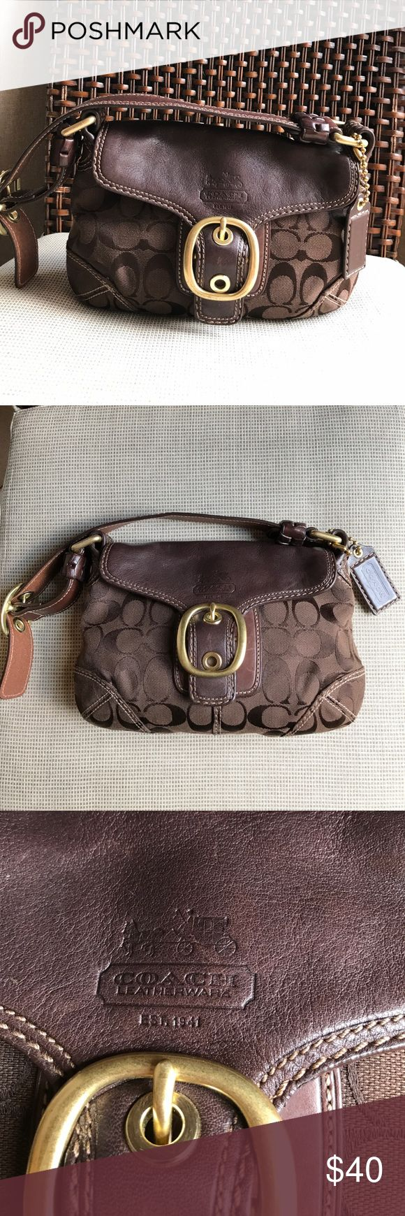 ‼️NEW LISTING‼️COACH Signature Canvas Shoulder Bag Canvas Shoulder Bag in Signature Jacquard. Great handbag with adjustable, long leather strap and gold hardware. Very clean inside with one zipper pocket and 2 additional side pockets. Has additional exterior pocket on back of bag too. Great for work, weekends or on the go! Coach Bags Shoulder Bags