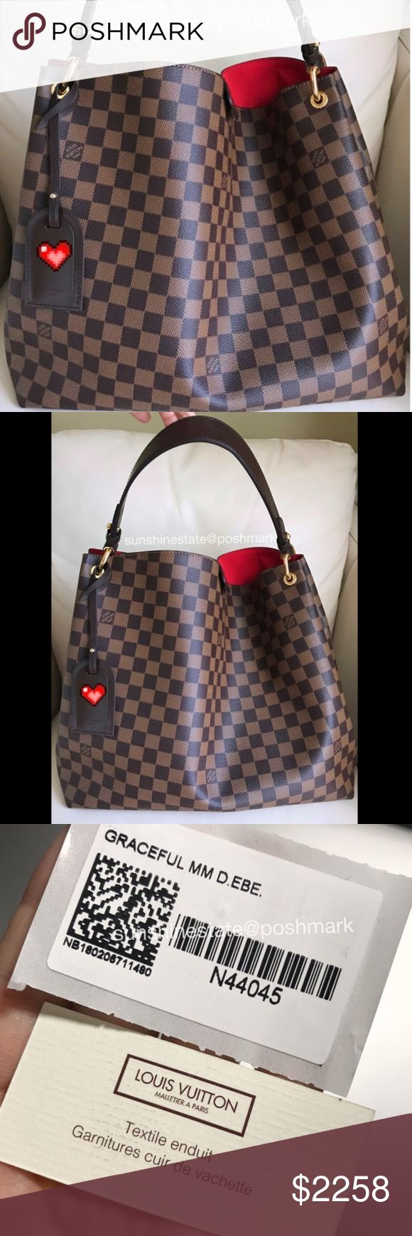 Louis Vuitton Graceful MM Damier Ebene Bag New! 100% ...