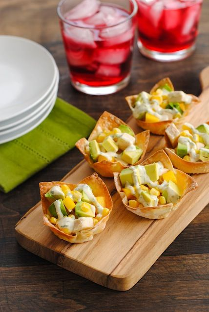 Chicken, Mango & Avocado Wonton Cups - a simple, colorful and flavorful finger food!