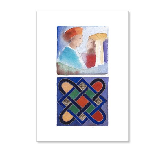 Watercolour arab love story islamic mosaic by atelierartbook