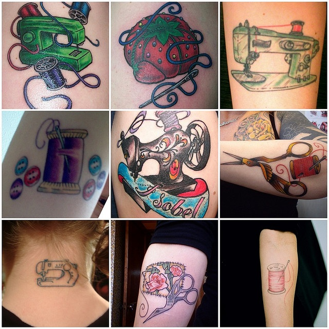 sewing tattoos.  I had to repin...  While looking at tattoo pics I came across... myself.  I'm internet-famous!  The top center is my left arm, the top left is my right arm.
