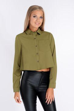 Luenne Khaki Cropped Shirt