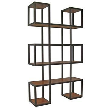 Harrogate Block Metal Wood Industrial Loft Bookcase. #kathykuohome