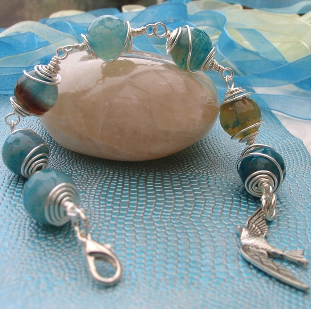 Bracelet - Turquoise Cracked Agate - Wire Wrapped with Bird Charm