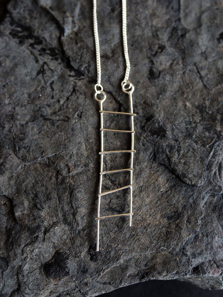 DRIFA unique handmade sterling silver pendant necklace jewellery jewelry linear minimalistic cool ladder stairway scandinavian gift for her by OLOVdesigns on Etsy