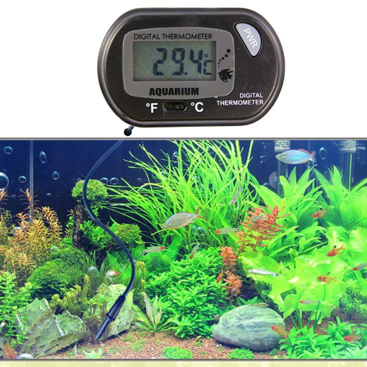 LCD Digital Aquarium Thermometer Sensor Wired Aquarium Tangki Ikan 2.5x1.2 cm Kualitas LED Sensor Digital Aquarium Thermometer