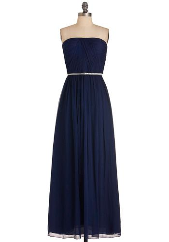 Love this beautiful navy chiffon Grecian inspired dress: Muse Dresses, Maxi Dresses, Gold Belts, Bridesmaid Dresses, Local Muse, Clothing, Colors, Modcloth, Prom Dresses