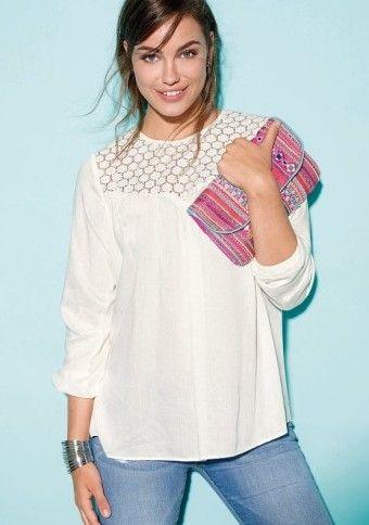 Blúzka s ažúrovou vsadkou #Modino_sk #modino_style #style #white #bluse #shirt #handbag #outfit #fashion