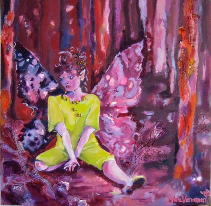 Keijun marraskuu, Fairy's November 2009  50 x 50 cm  öljy, sekatekniikka/ oil, mixed media