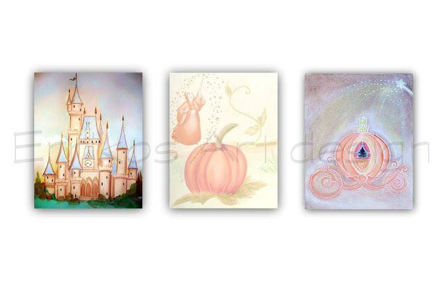 Kids Nursery Prints: Baby Girl Nursery Art, Princess Wall Art, Cinderel...