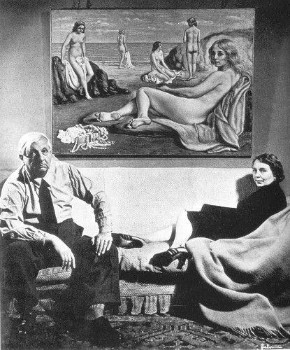 GIORGIO VE ISA DE CHIRİCO, PLAJDA YIKANANLAR'LA (1934), 1950′LER ♥♥♥  GIORGIO AND ISA de Chirico, in YIKANANLAR'L BEACH (1934), 1950