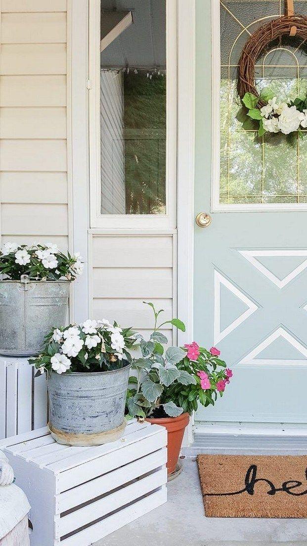 50 Affordable Farmhouse Spring And Summer Porch Decoration Ideas Porchideas Frontporchdecora Small Porch Decorating Spring Porch Decor Front Porch Decorating