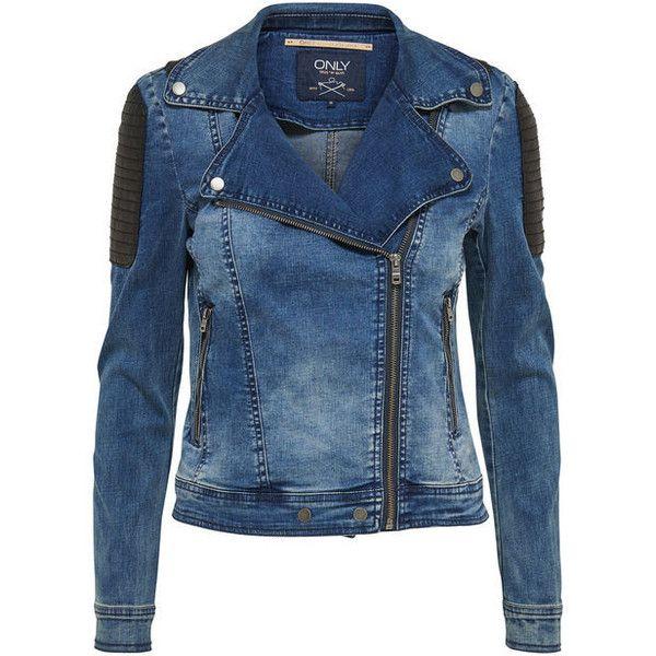 KURZE BIKER- JEANSJACKE - Only ($78) ❤ liked on Polyvore featuring outerwear, jackets, biker style jacket, blue jackets, blue biker jacket and biker jacket