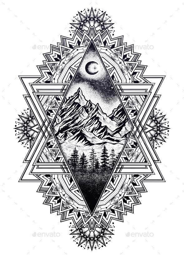 Decorative ornate vintage frame with hand drawn pine forest mountain landscape, beautiful moon, sky. Magic outdoors. Tattoo, trave