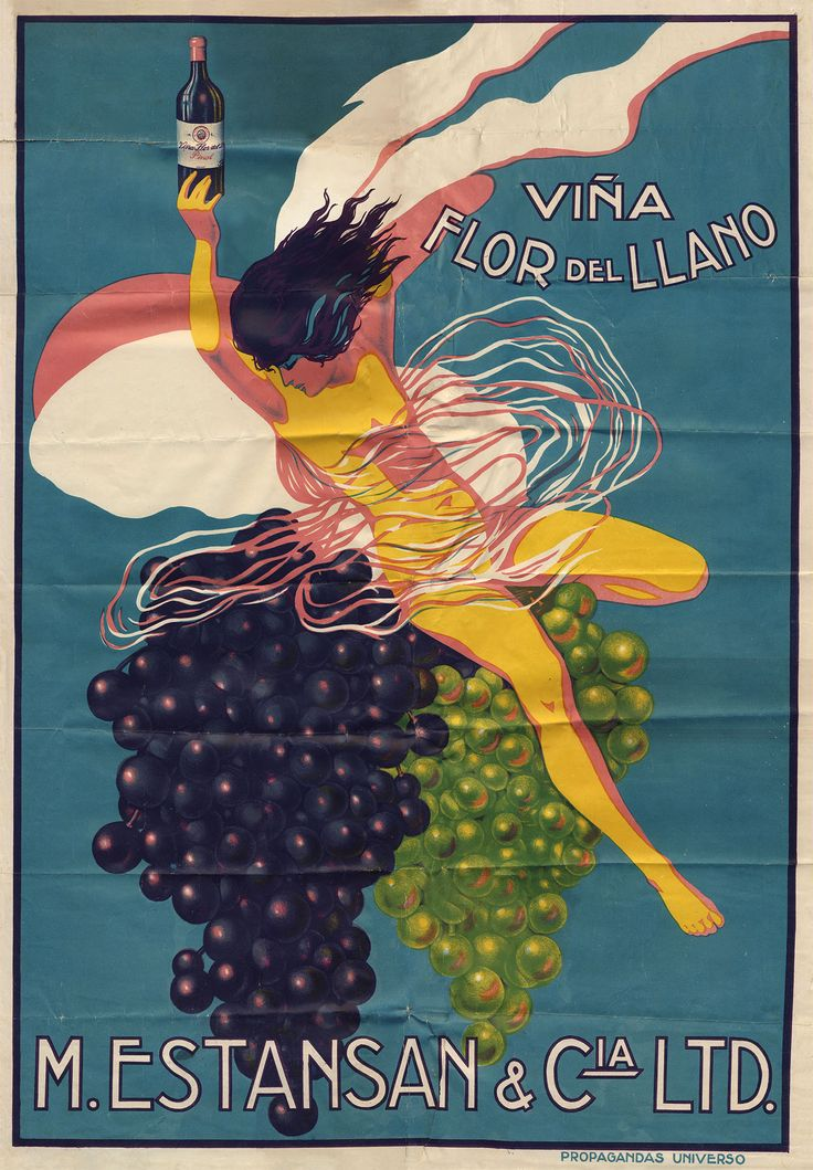 Cartel Comercial Viña Flor de Llano Año: 1924 Autor: Propagandas Universo Lugar…