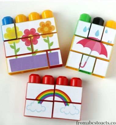 DIY Spring mega block puzzle (free printable) / Tavaszi kirakós játék lego duplo-ból  (fejlesztő játék gyereknek) / Mindy - craft tutorial collection