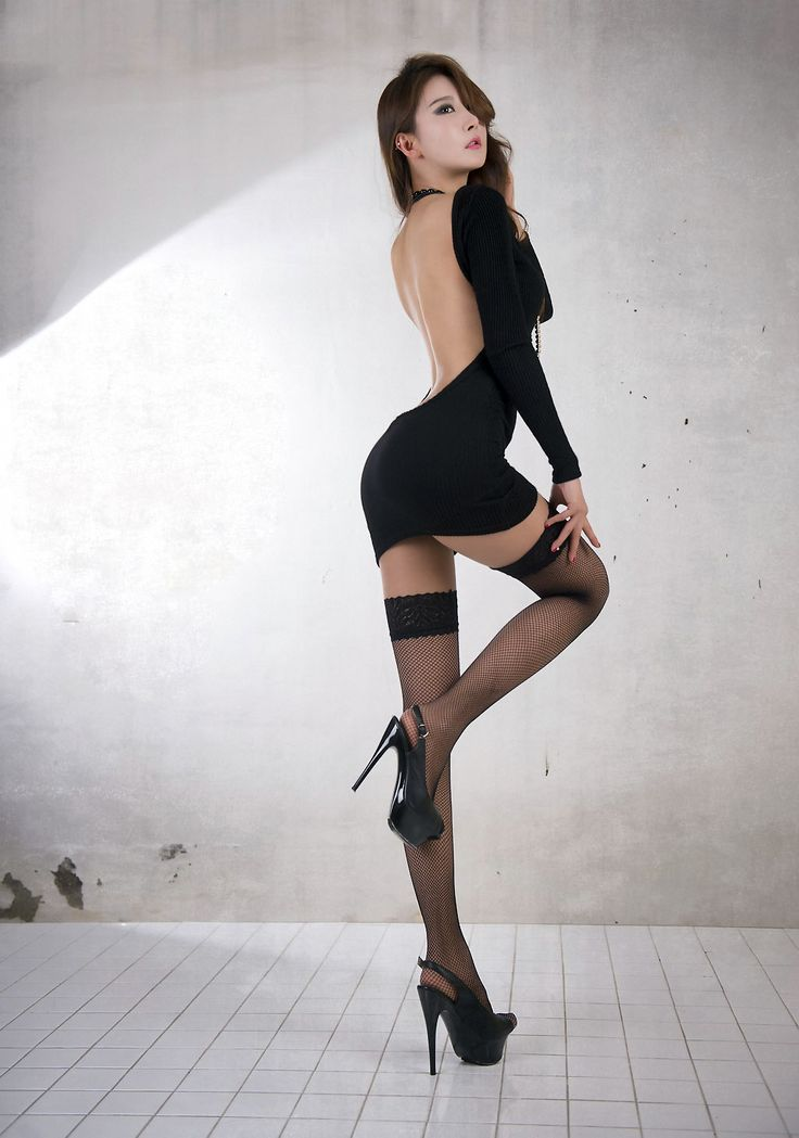 Hot Asian In Black Stockings