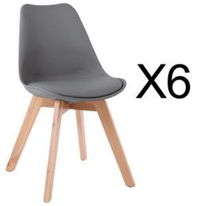 Chaise Lot De 6 Chaises Style Scandinave Catherina Gris