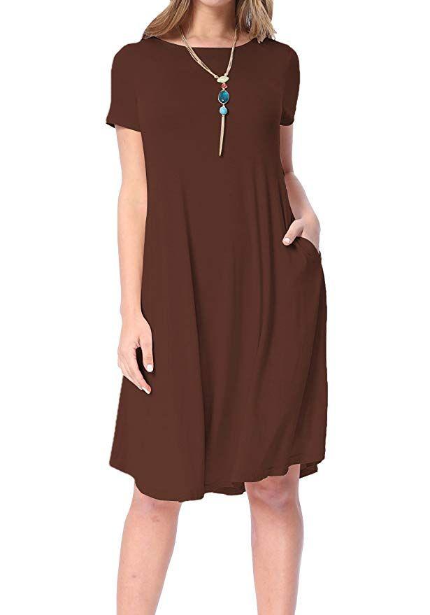 2d67e432d97f levaca Womens Summer Solid Draped Loose Beach Casual Flowy Midi Dress Coffee  XXL