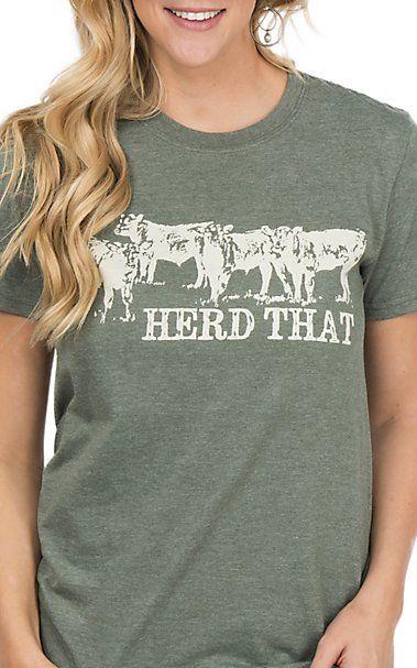 59e0182ea Crazy Train Women's Olive Herd That Short Sleeve T-Shirt | Women's ...