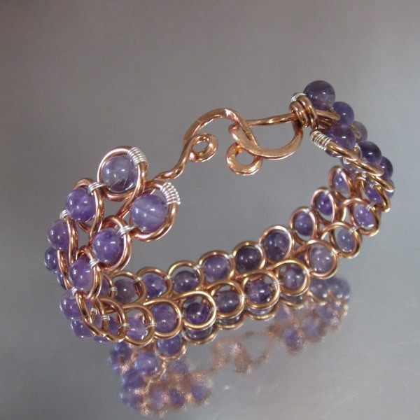 Copper Wire Looped Amethyst Gemstone Heart Closure Bangle