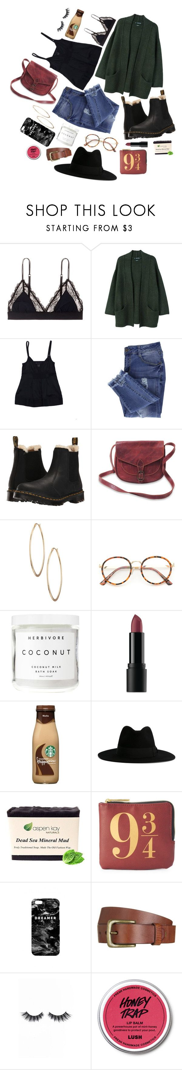 """""""Heyo"""" by maciestockman ❤ liked on Polyvore featuring LoveStories, MANGO, Marc by Marc Jacobs, Essie, Dr. Martens, Lydell NYC, Herbivore, Bare Escentuals, Yves Saint Laurent and Mr. Gugu & Miss Go"""